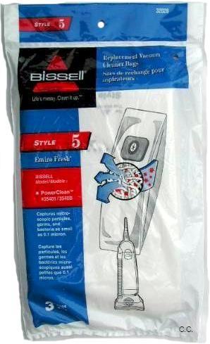 Bissell 32028 Style 5 Enviro Fresh vacuum cleaner bags- Genuine - 3 Bags