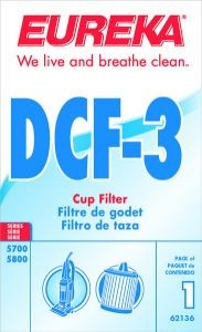 Free S/H - Eureka DCF3 Dust Cup Filter  # 62136 - Genuine