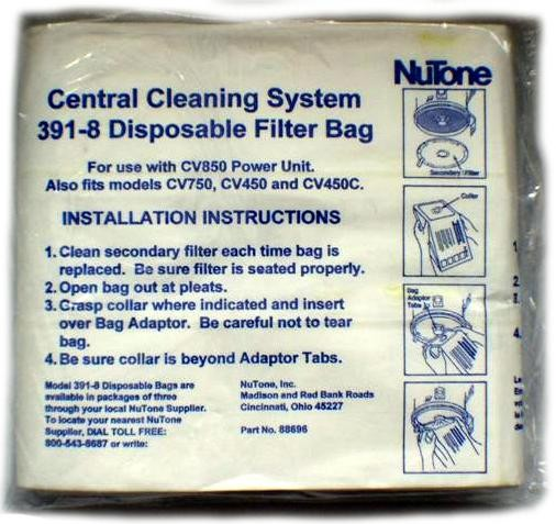 Free S/H - Nutone  391-8 Central  Vacuum Bag for 8 Gallon Machines # 3918 88696 - Genuine - 3 Bags