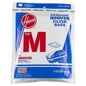 Hoover Type M Vacuum Bags # 4010037M - Genuine - 3 Bags