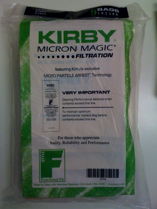Free S/H - Kirby style F vacuum cleaner bags # 197309 - Genuine - 9 Bags Free S/H - Kirby style F vacuum cleaner bags  for 2009 Sentria Models # 197309 - Genuine - 9 Bags
