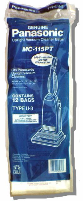 Free S/H - Panasonic Type U-3 Bags #MC-115PT- Genuine -12 Bags