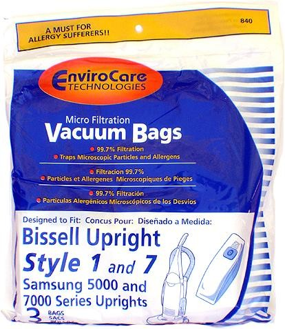 Free S/H - Bissell style 1 and 7 Upright  Bags - Generic - 3 Bags